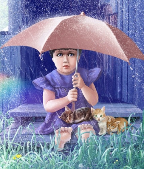 rain_umbrella-girl-animals-cats-dog-grass-drawing